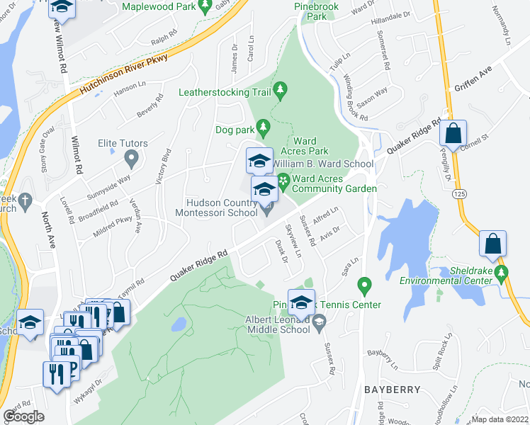map of restaurants, bars, coffee shops, grocery stores, and more near 340 Quaker Ridge Road in New Rochelle