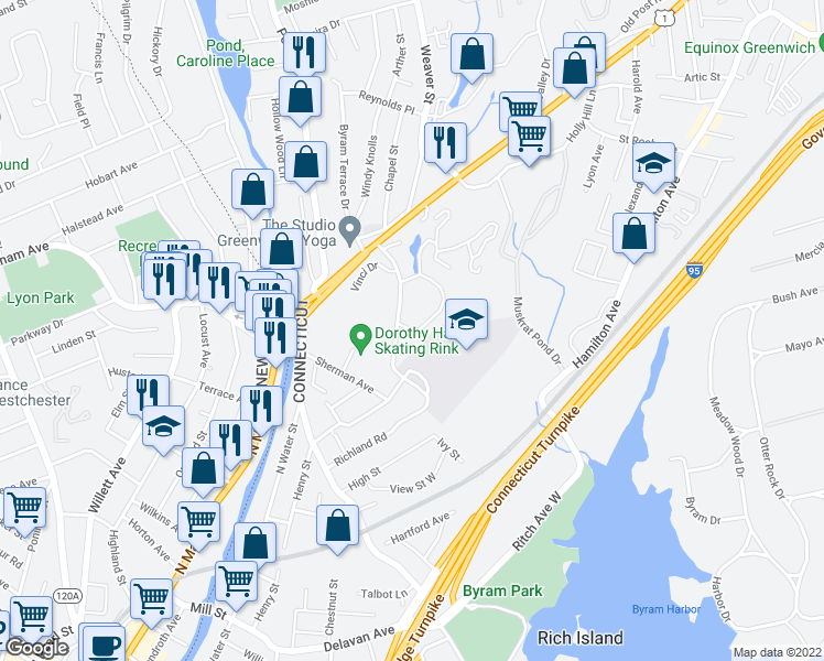map of restaurants, bars, coffee shops, grocery stores, and more near 1-11 Western Jr Hwy in Greenwich