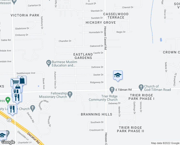 map of restaurants, bars, coffee shops, grocery stores, and more near 2925 Dexter Drive in Fort Way