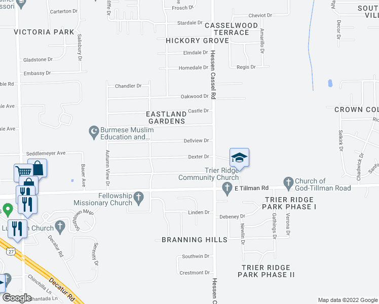 map of restaurants, bars, coffee shops, grocery stores, and more near 3017 Dexter Drive in Fort Wayne