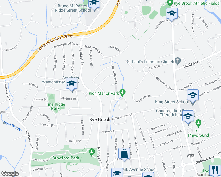 map of restaurants, bars, coffee shops, grocery stores, and more near 11 Rock Ridge Drive in Rye Brook