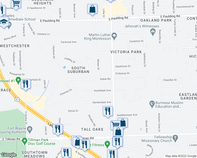 map of restaurants, bars, coffee shops, grocery stores, and more near Gable Road in Fort Wayne