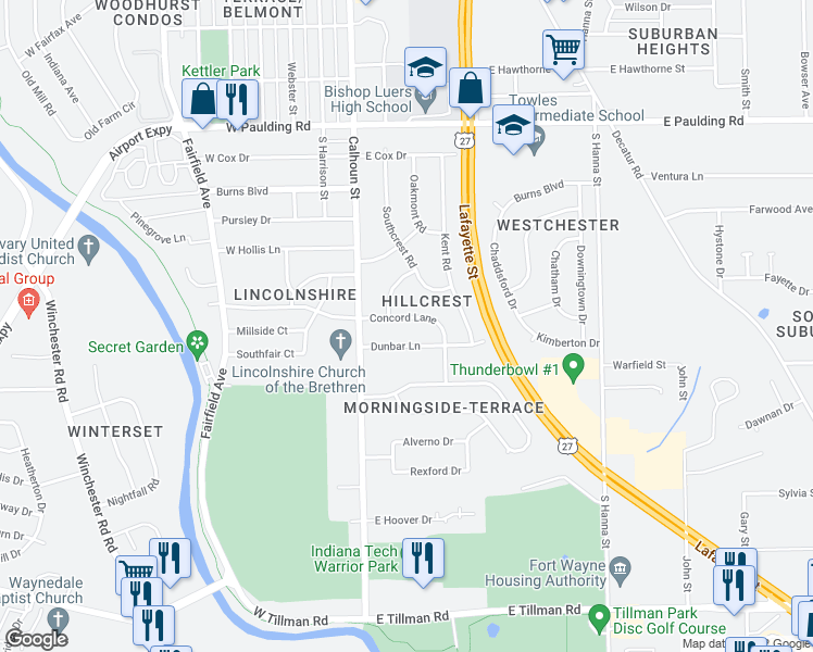 map of restaurants, bars, coffee shops, grocery stores, and more near 202 East Concord Lane in Fort Wayne