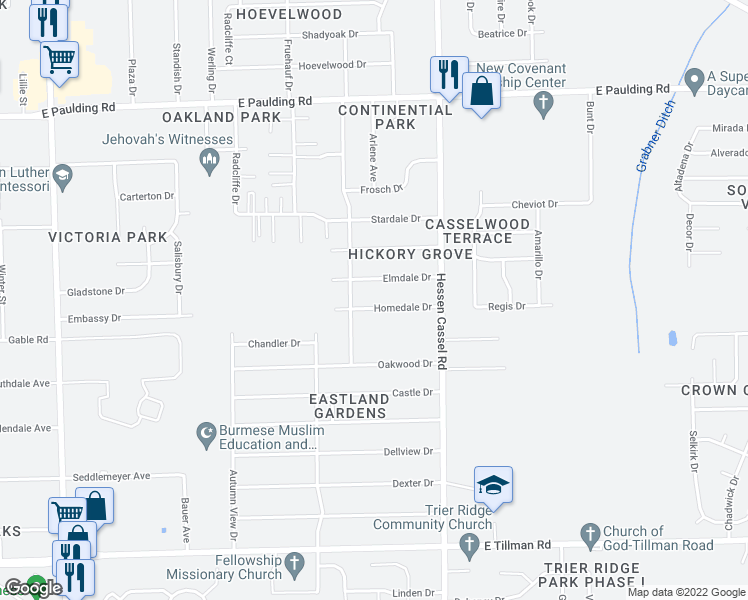map of restaurants, bars, coffee shops, grocery stores, and more near 2923 Homedale Drive in Fort Wayne
