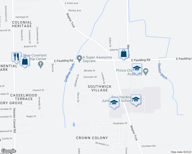 map of restaurants, bars, coffee shops, grocery stores, and more near Alverado Drive in Fort Wayne