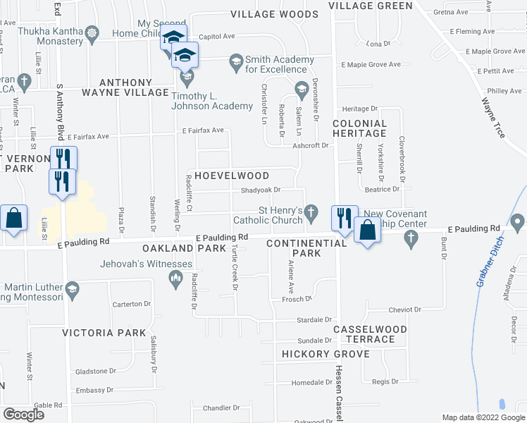 map of restaurants, bars, coffee shops, grocery stores, and more near Hoevelwood Drive in Fort Wayne