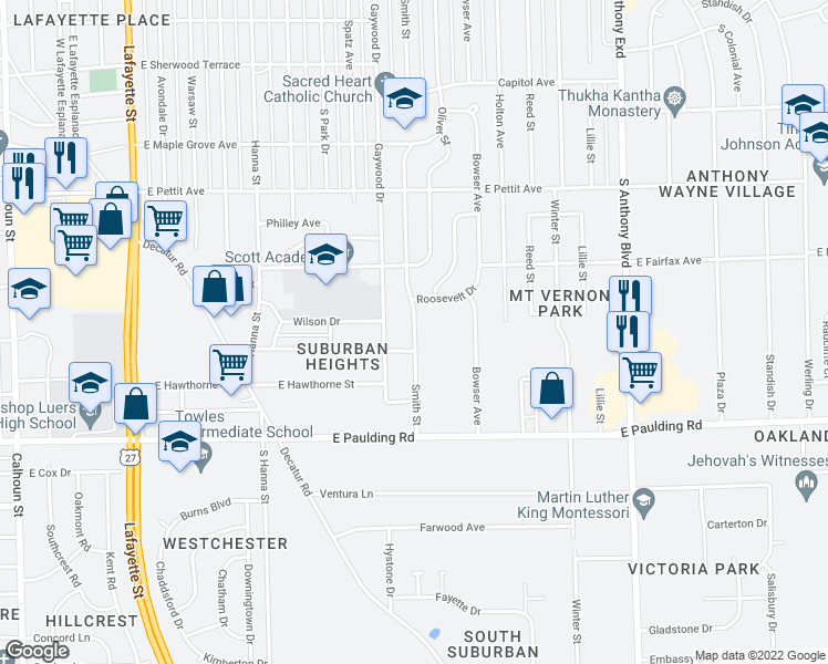 map of restaurants, bars, coffee shops, grocery stores, and more near Smith Street in Fort Wayne
