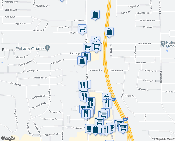 map of restaurants, bars, coffee shops, grocery stores, and more near 6201 South Avenue in Youngstown