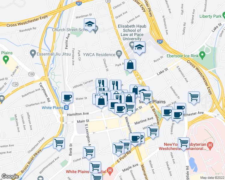 map of restaurants, bars, coffee shops, grocery stores, and more near 27 Barker Avenue in White Plains