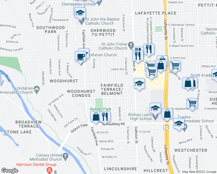 map of restaurants, bars, coffee shops, grocery stores, and more near 5214 Mcclellan Street in Fort Wayne