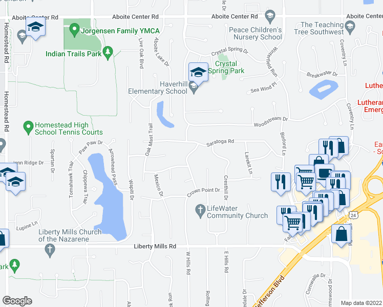 map of restaurants, bars, coffee shops, grocery stores, and more near 5211 Tall Timber Trail in Fort Wayne