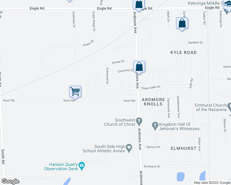 map of restaurants, bars, coffee shops, grocery stores, and more near 5130 Windy Knoll Court in Fort Wayne