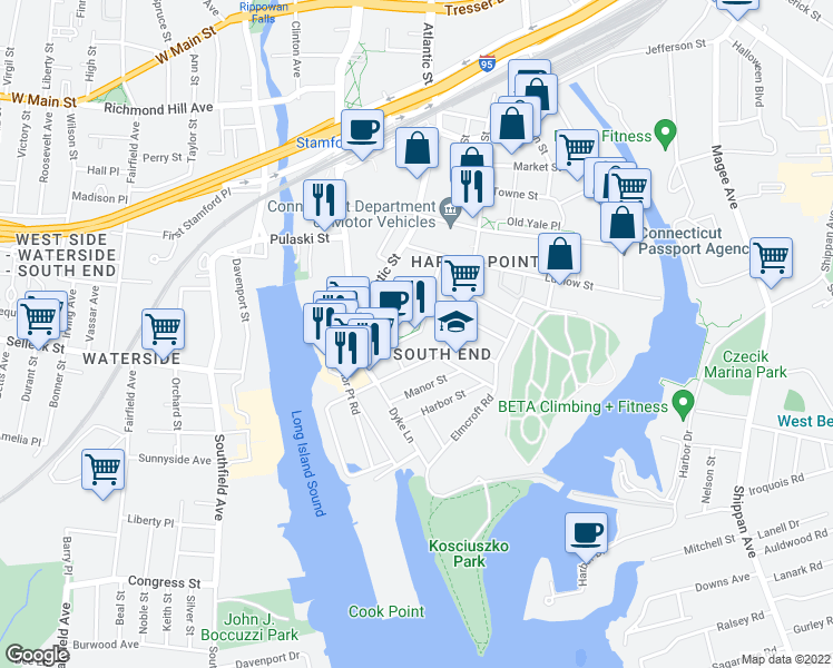map of restaurants, bars, coffee shops, grocery stores, and more near 201 Commons Park South in Stamford