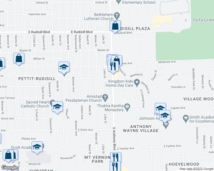 map of restaurants, bars, coffee shops, grocery stores, and more near 4427 Lillie Street in For