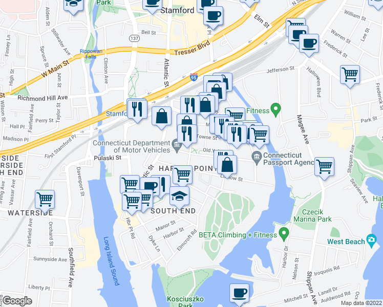map of restaurants, bars, coffee shops, grocery stores, and more near 653 Pacific Street in Stamford