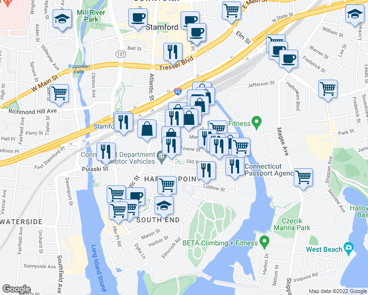 map of restaurants, bars, coffee shops, grocery stores, and more near 111 Towne Street in Stamford