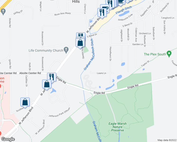 map of restaurants, bars, coffee shops, grocery stores, and more near 8122 Illinois Road in Fort Wayne
