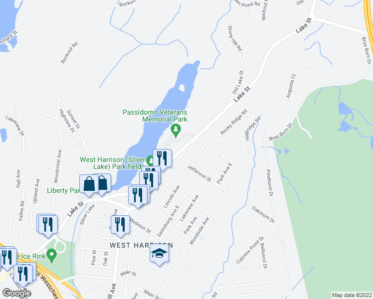 map of restaurants, bars, coffee shops, grocery stores, and more near 142-198 Veterans Memorial Dr in Harrison