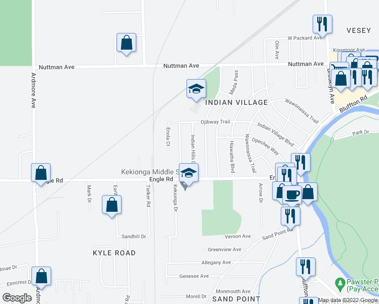 map of restaurants, bars, coffee shops, grocery stores, and more near 4024 Indian Hills Drive in Fort Wayne
