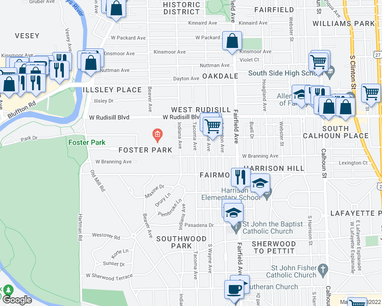map of restaurants, bars, coffee shops, grocery stores, and more near 4034 Tacoma Avenue in Fort Wayne
