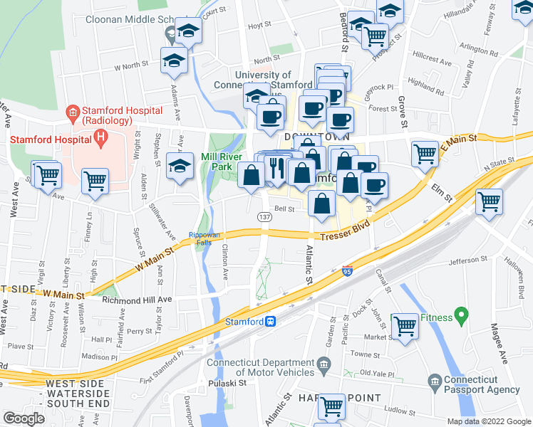 map of restaurants, bars, coffee shops, grocery stores, and more near 895 Washington Boulevard in Stamford