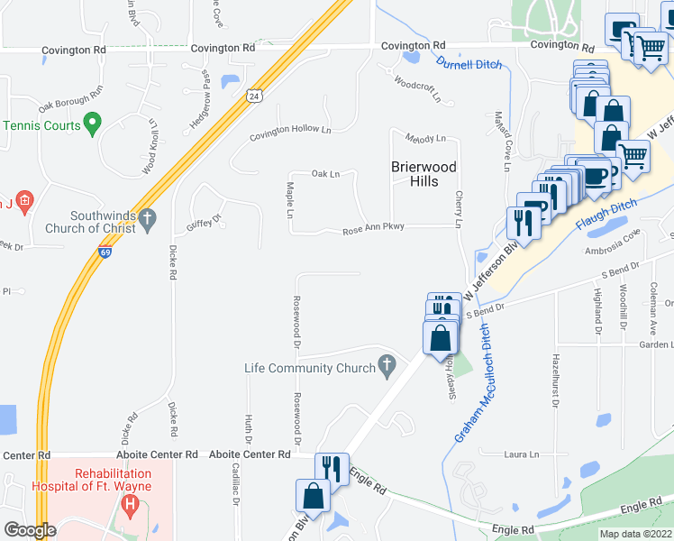 map of restaurants, bars, coffee shops, grocery stores, and more near Rosewood Drive in Fort Wayne