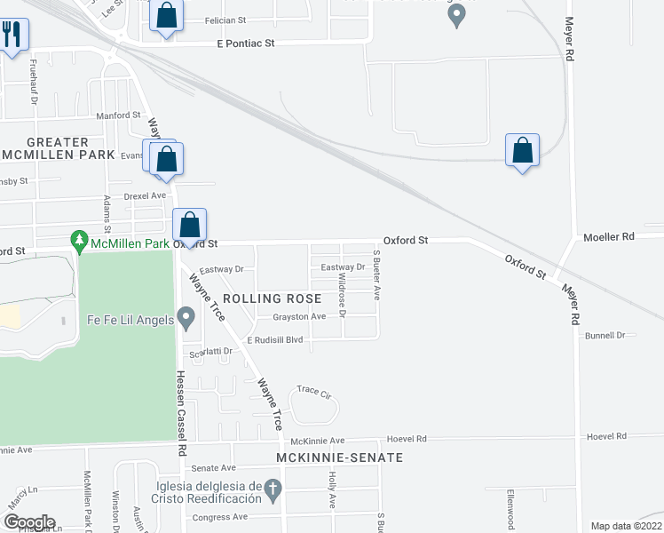 map of restaurants, bars, coffee shops, grocery stores, and more near Eastway Drive in Fort Wayne