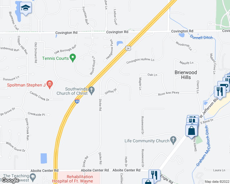 map of restaurants, bars, coffee shops, grocery stores, and more near 3414 Dobbins Court in Fort Wayne
