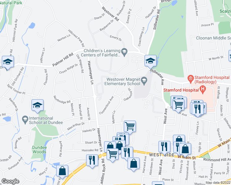 map of restaurants, bars, coffee shops, grocery stores, and more near 133-139 Connecticut Avenue in Stamford