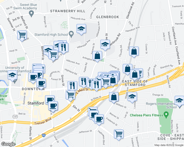 map of restaurants, bars, coffee shops, grocery stores, and more near 77 Glenbrook Road in Stamford