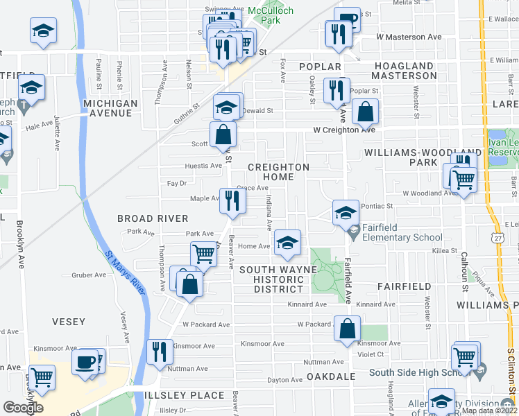 map of restaurants, bars, coffee shops, grocery stores, and more near Lincoln Avenue in Fort Wayne