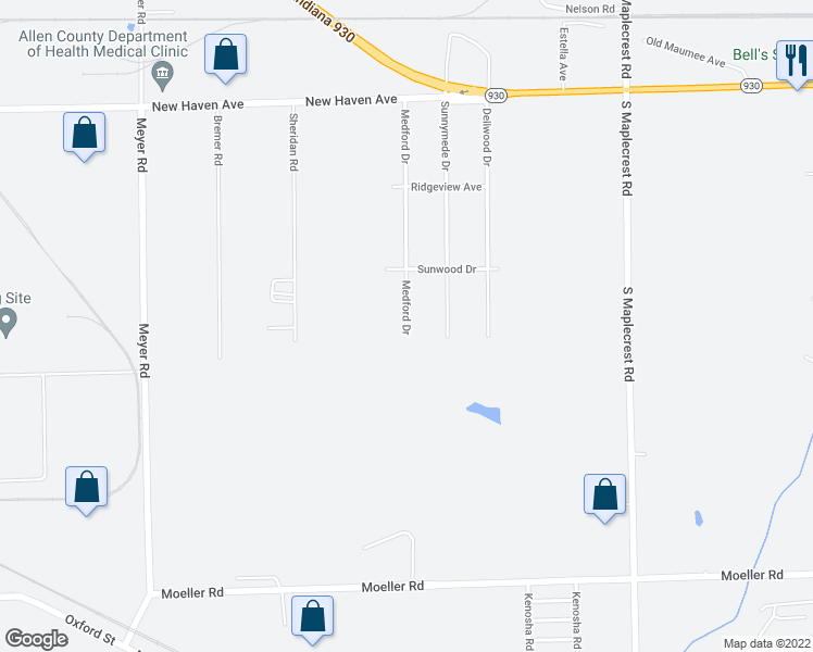 map of restaurants, bars, coffee shops, grocery stores, and more near Medford Drive in Fort Wayne
