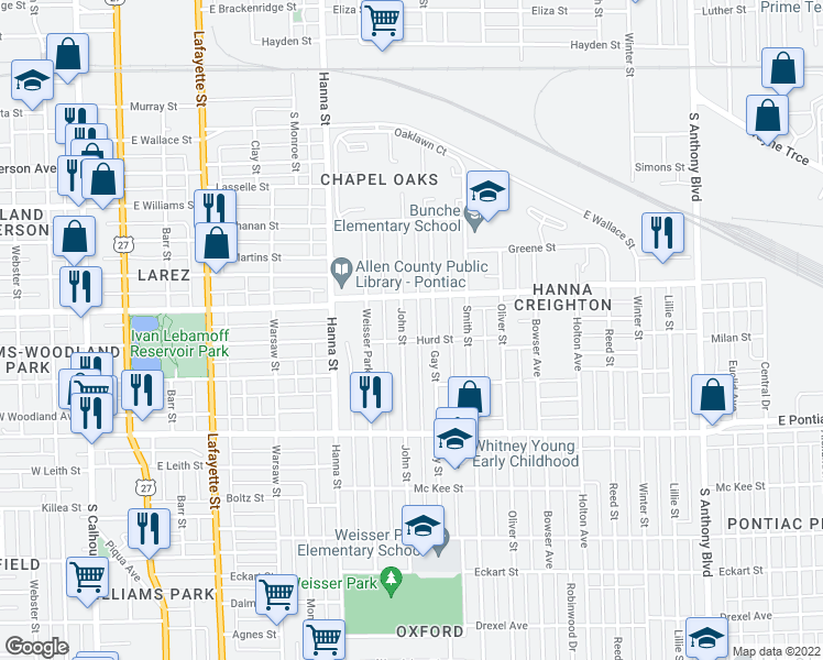 map of restaurants, bars, coffee shops, grocery stores, and more near 2331 John Street in Fort Wayne