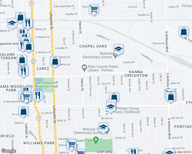 map of restaurants, bars, coffee shops, grocery stores, and more near 2312 John Street in Fort Wayne