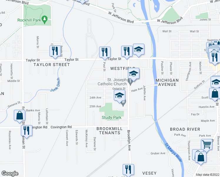 map of restaurants, bars, coffee shops, grocery stores, and more near Ontario Street in Fort Wayne