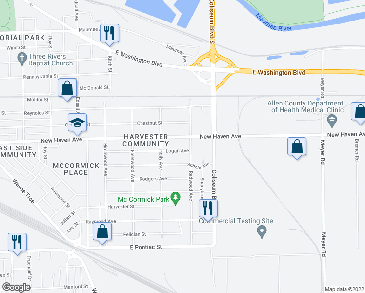 map of restaurants, bars, coffee shops, grocery stores, and more near 3713 Logan Avenue in Fort Wayne