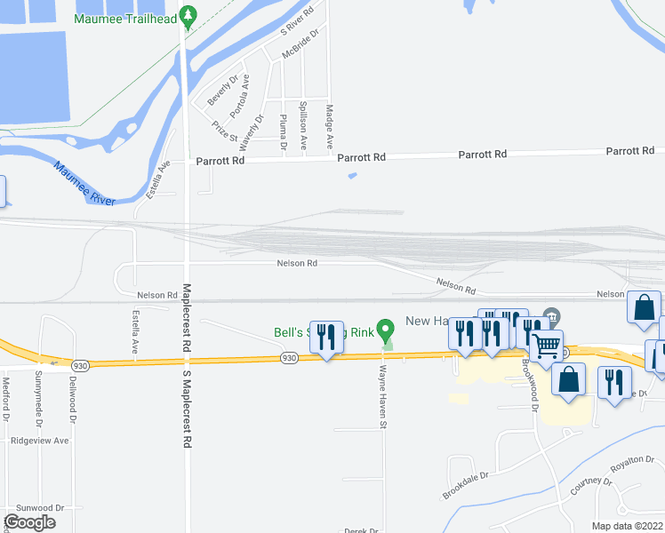 map of restaurants, bars, coffee shops, grocery stores, and more near 6912 Nelson Road in Fort Wayne