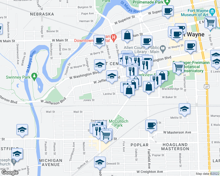 map of restaurants, bars, coffee shops, grocery stores, and more near Wilt St in Fort Wayne