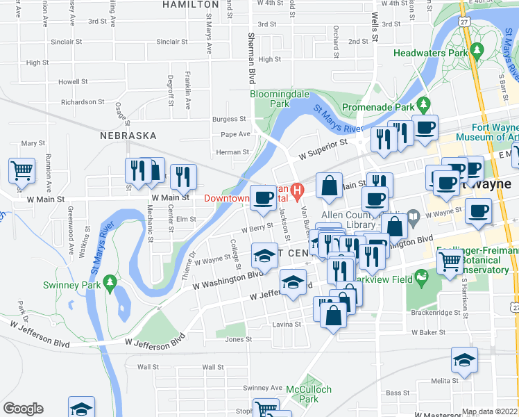 map of restaurants, bars, coffee shops, grocery stores, and more near 922 West Berry Street in Fort Wayne