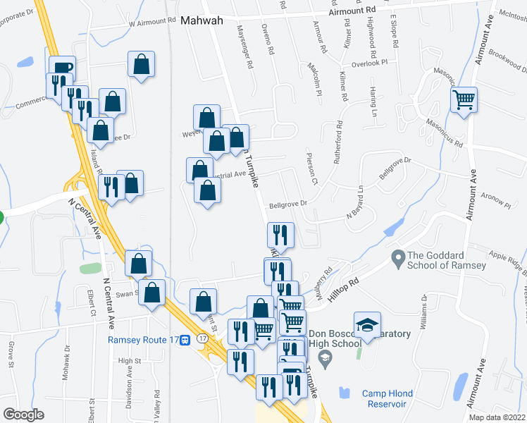 map of restaurants, bars, coffee shops, grocery stores, and more near 400 Franklin Turnpike in Mahwah