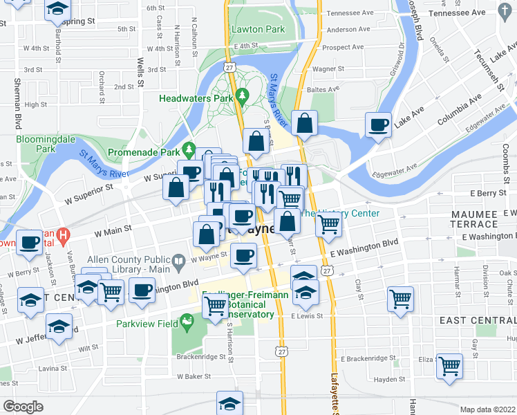 map of restaurants, bars, coffee shops, grocery stores, and more near in Fort Wayne
