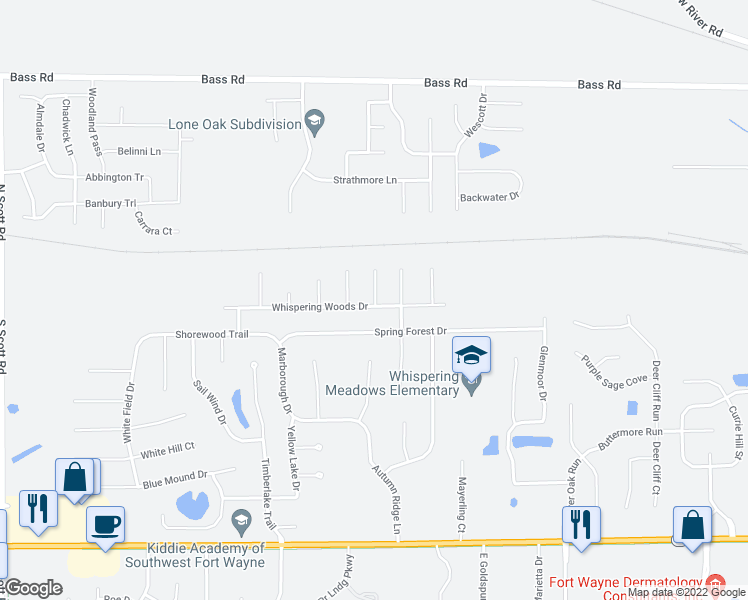 map of restaurants, bars, coffee shops, grocery stores, and more near 113 Spring Forest Court in Fort Wayne