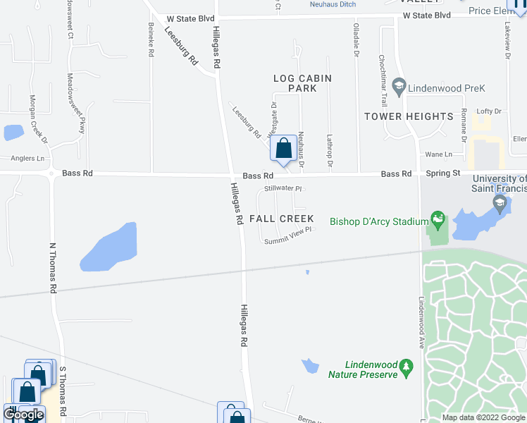 map of restaurants, bars, coffee shops, grocery stores, and more near 1404 Fall Creek Drive in Fort Wayne