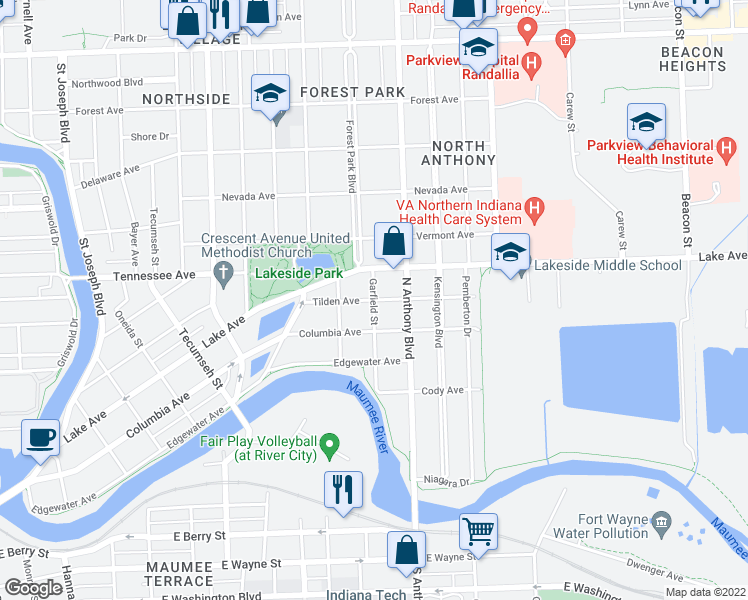 map of restaurants, bars, coffee shops, grocery stores, and more near Tilden Ave in Fort Wayne