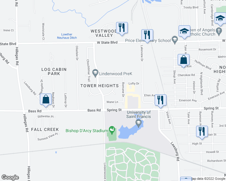 map of restaurants, bars, coffee shops, grocery stores, and more near Shalimar Circle in Fort Wayne
