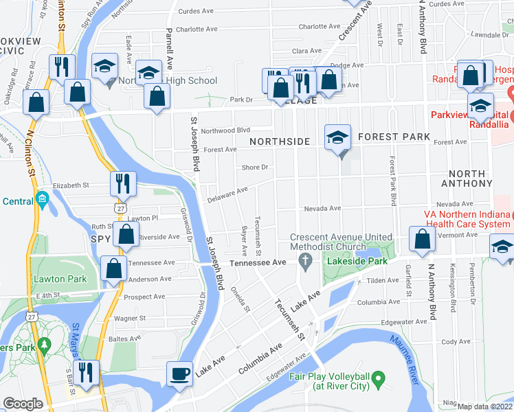 map of restaurants, bars, coffee shops, grocery stores, and more near Tecumseh St in Fort Wayne