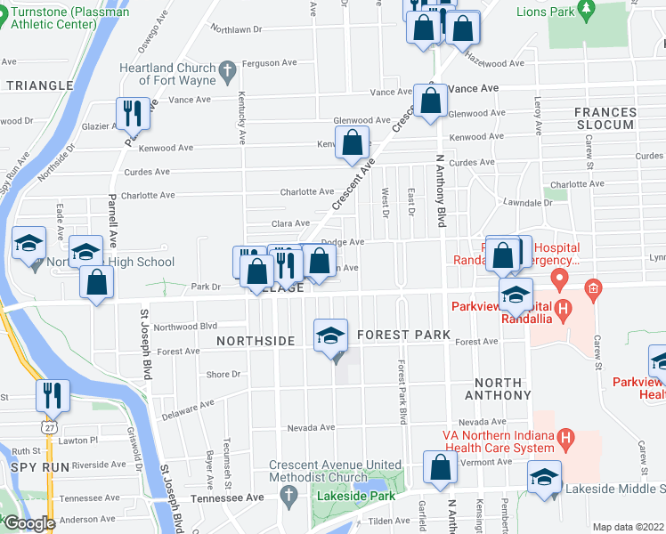 map of restaurants, bars, coffee shops, grocery stores, and more near Lynn Ave in Fort Wayne