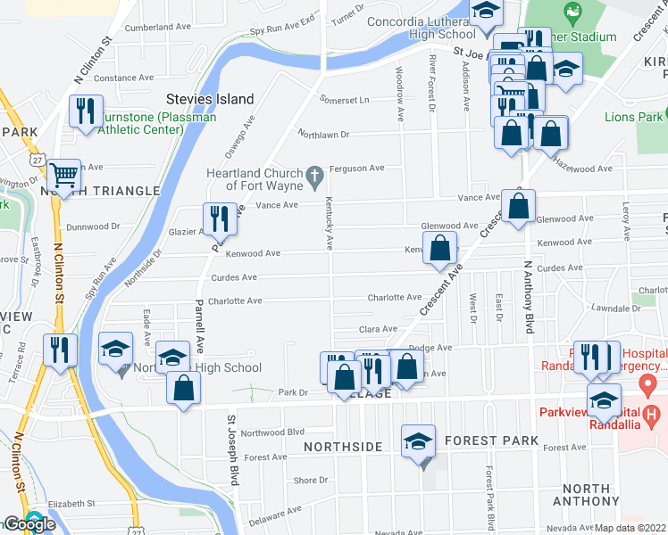 map of restaurants, bars, coffee shops, grocery stores, and more near 1101 Curdes Avenue in Fort Wayne