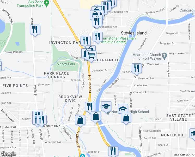 map of restaurants, bars, coffee shops, grocery stores, and more near Field Street in Fort Wayne