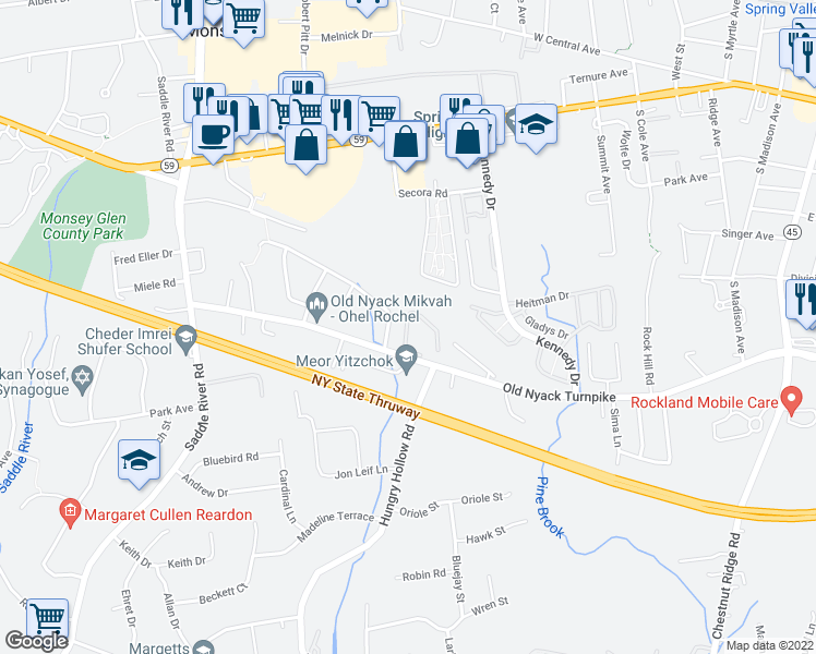 map of restaurants, bars, coffee shops, grocery stores, and more near 30 Garrison Dr in Spring Valley